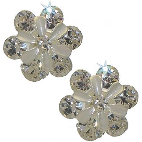 Clip PETITE tono argento cristallo orecchini