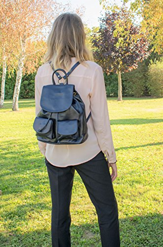 VERA LEDER RUCKSACK OLIMPIA (BROWN) DARK BLUE