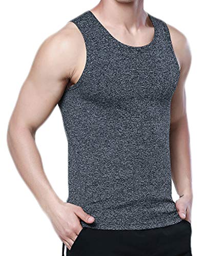 ATTAOL Herren Bodybuilding Keine Spur Atmungsaktiv Fitness Weste Tank Top Ärmelloses Oberteil Rauchfarben L