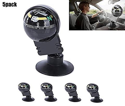 Haolong Voiture Véhicule magnétique Boussole de navigation de voyage Noir Conduite réglable de voiture Sucker Borne Mini Balle en plastique Boussole 5pc
