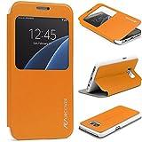 URCOVER Étui Portefeuille Avec Fenêtre Cross Pattern | Samsung Galaxy S7 | Silicone Plastique Orange | Coque de Protection Mince Fermeture Magnétique Housse Rabat