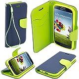 BOOK CASE FANCY für Sony Xperia X (F5121) Cover Handy Tasche Flipcase Etui Buchform Kunststoff TPU Halterung für Kreditkarten (marineblau / grün)