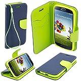 BOOK CASE FANCY für LG X Power K220 Cover Handy Tasche Flipcase Etui Buchform Kunststoff TPU Halterung für Kreditkarten (dunkelblau / grün)