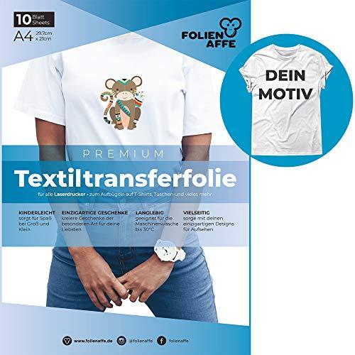 A4 Transferfolie für Laserdrucker & helle Textilien - Bügelfolie/Transferpapier, transparent - zum Übertragen von Fotos & eigenen Designs aufs T-Shirt - geeignet für Baumwollstoffe (10x)
