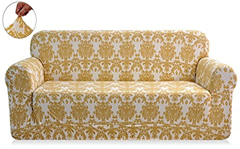 CHUN YI Printed Sofa Covers 1-Piece Polyester Spandex Fabric Stretch Slipcovers (Loveseat, Yellow Flower)