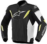 Alpinestars Gp R Motorradlederjacke, Farbe schwarz-weiss-neongelb, Größe 56