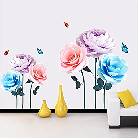 Modern Minimalist Rose Stickers Sofa Background Wall Stickers Bedroom Bedside Decorations Self-Adhesive Wallpaper Texture, 130 * 70Cm