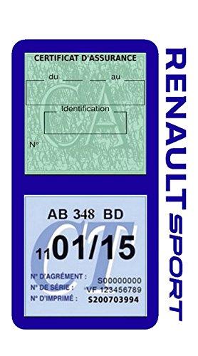 Générique étui Double Assurance Renault Sport Bleu Foncé Porte Vignette Adhésif Voiture Stickers Auto Retro