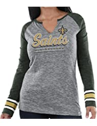 "New Orleans Saints Women's Majestic NFL ""Lead Play 3"" Long Sleeve Raglan shirt Chemise"