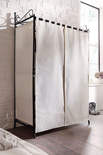 PureDay-Breezy-Guardaroba-con-telaio-in-metallo-e-rivestimento-in-cotone-109-x-57-x-171-cm-L-x-P-x-A-colore-BeigeNero