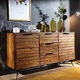 KS-Furniture - Credenza Nishan in Legno Massiccio Sheesham con Ante e cassetti, 160 x 40 x 88 cm