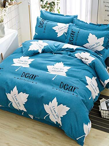 JSDJSUIT Bettwäsche gesetzt 4 Stücke Bettbezug-Set Maple Leaf Letters Print Home geschmeidig Bettwäsche Set-X-Twin 4St -