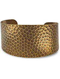 Hammered Antique Brass Cuff Bracelet Graduates 36mm To 23mm