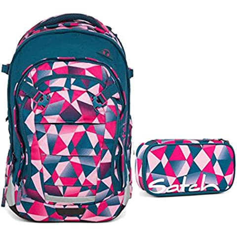 Satch – Zaino da scuola, Set di 2 Match Pink Crush 9 F5 rosa Polygon