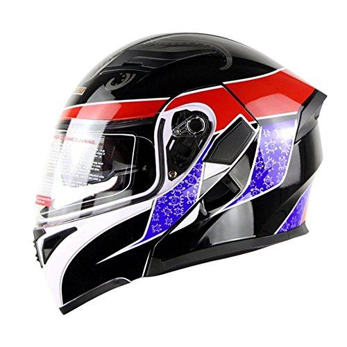 HECHEN Motorrad Racing Helm, Doppel Spiegel Helm, Sicherheit Atmungs Helm,A,61/62CM
