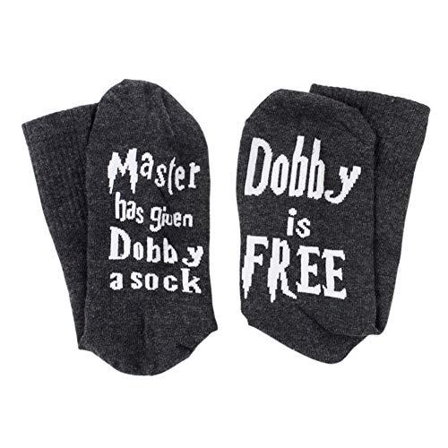 BOENZN Neuheit Lustige Socken - Master Has Given Dobby a Sock Dobby is Free Socken - Crew Baumwollsocken für Damen & Herren