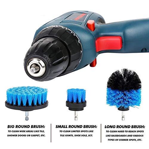 P12cheng Bohrer Schrubber Bürsten-Set, Power-Schrubber Bürste Set Bad Bohrer Reinigung schnurloses Zubehör, ABS, blau, 2