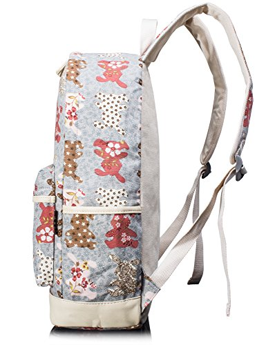Leaper Cute Canvas Backpack Laptop School Bag Shoulder Bag Purse Case 3PCS Pink