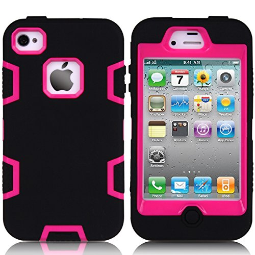 iPhone 4 4s Phone Case Protective Design,Shock-Absorption/High Impact Resistant Rugged,Durable Protective Case Protection Defender Slim Case Cover for iPhone 4 4s (Carry Iphone Case Für 4s)