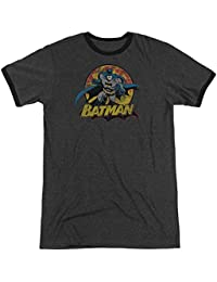 Justice League - Mens Batman Rough Distress Ringer T-Shirt