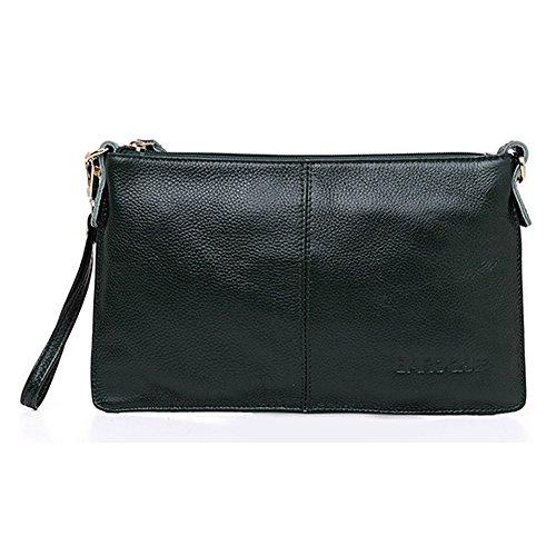 H&W Donna Moda Pelle Vera Clutch Borsa Con Polso e Spallina Azzurro scuro verde