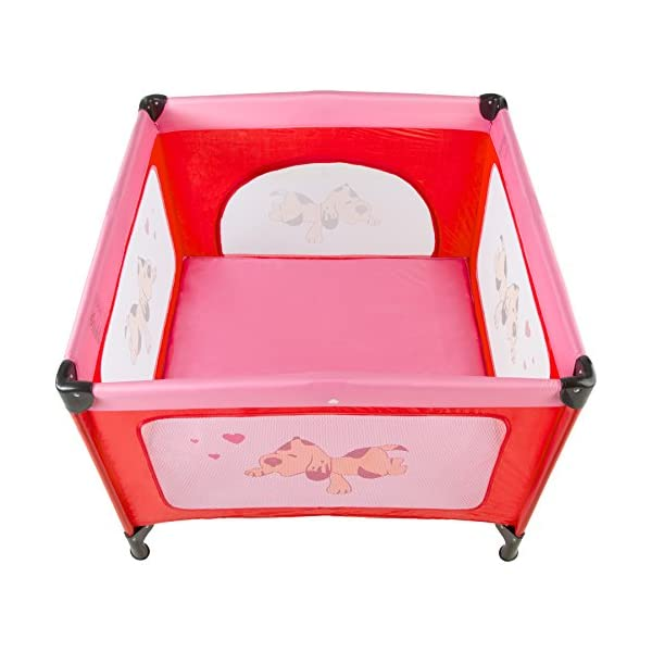 TecTake Portable Child Baby Infant Playpen Travel Cot Bed Crawl Play Area new - different colours - (Pink | No. 402206)  Only the best for my baby: Our high-quality manufactured baby playpen is excellently suited to play, crawl around and to sleep. // Total dimensions: (LxWxH): 105 x 105 x 78 cm. As it is especially space-savingly collapsible, you won't only use it at home but also when travelling. // Dimensions collapsed (LxWxH): approx. 94 x 20 x 20 cm. The side elements are furnished with breathable mesh-textures, so that you can always keep an eye on your little darling. In addition, the playpen has a padded sleep mat and thus serves as a small travel cot. 2