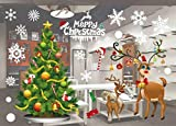 JCT Christmas Window Stickers Decorations Clings Decal Colorful Santa Removable Large Wall Windows Door Mural Clings For Marry Christmas Showcase,Holidays Xmas Decoration 55 X 38cm /21.6 X 15