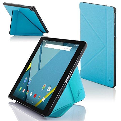 Forefront Cases® Google Nexus 9 8.9 Zoll Origami Hülle Schutzhülle Tasche Bumper Folio Smart Case Cover Stand - Rundum-Geräteschutz und intelligente Auto Schlaf/Wach Funktion (HELL BLAU)