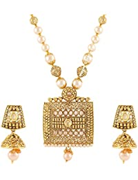 Jewels Galaxy Exclusive Square Shaped Pearl Designer Gold Plated Traditional Necklace Set
