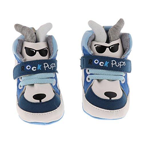 MagiDeal Baby Mädchen Jungen Hund Lauflernschuhe PU Sneakers Krabbelschuhe - Blau, 13cm -