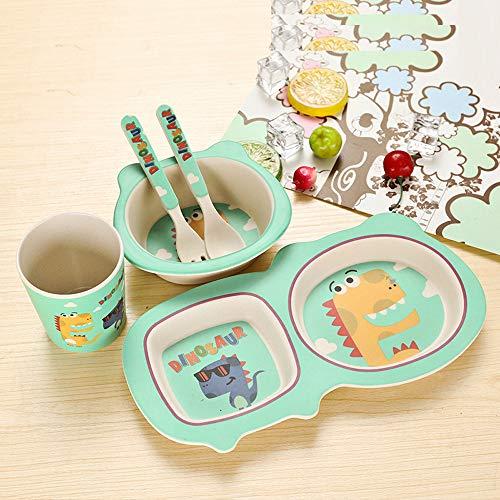 FULAISI 5-teiliges Kindergeschirr Set, Kinder Geschirr-Set Teller, Schale, Tasse, Löffel, Gabel für Baby, Kindergeschirrset für Junge und Mädchen (Grün-Dinosaurier) - Kinder Platten Aufgeteilt Für