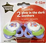 Tommee Tippee essentials twin pack glow in the dark girls soothers age 6-12m bpa free
