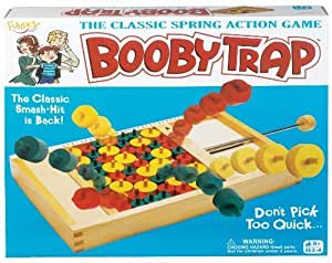 POOF-Slinky 0X5348 Ideal Booby Trap Classic Wood Spring-Loaded Action Tabletop Game in Retro Box by Ideal TOY (English Manual)
