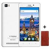 Cellulari offerte 9Pz V Mobile A10(+Case) 8GB ROM Smartphone offerta Del Giorno 5 Pollici Android 7 Quad Core Fotocamera 5 MP Dual SIM WIFI GPS 2800mAh Batteria Removibile (Bianco+Custodia in Pelle)