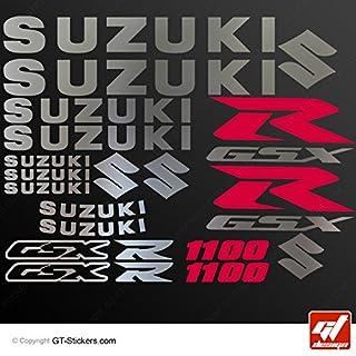 Aufkleber Suzuki GSX 1100–Brett zweifarbig XXL–Chrom/Rot–GSXR, GSX R, Sticker, selbstklebend, Aufkleber, gt-design