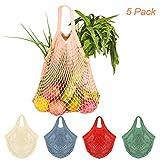 Creatiees Netz Einkaufstasche, 5 Stück Wiederverwendbar Mesh Baumwolle Einkaufen Tote Handtasche, tragbar Einkaufsnetz Veranstalter für Lebensmittel einkaufen/Outdoor-Verpackung /Lager/Obst/Gemüse