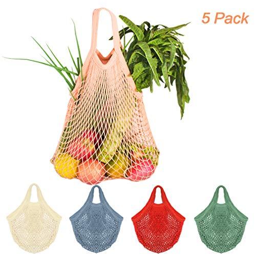 5 Bolsas de Malla Reutilizables Bolsa Rejilla para La Compra de Playa Algodón Bolsa Red con asa para Frutas Y Verduras En Forma de Red(5 Colores)