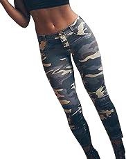 Pantaloni skinny da donna, Moda Skinny Leggings dimagranti Hip Push Up Pantaloni stretch Camouflage Pantaloni lunghi per donna Ladies Girls XS-L