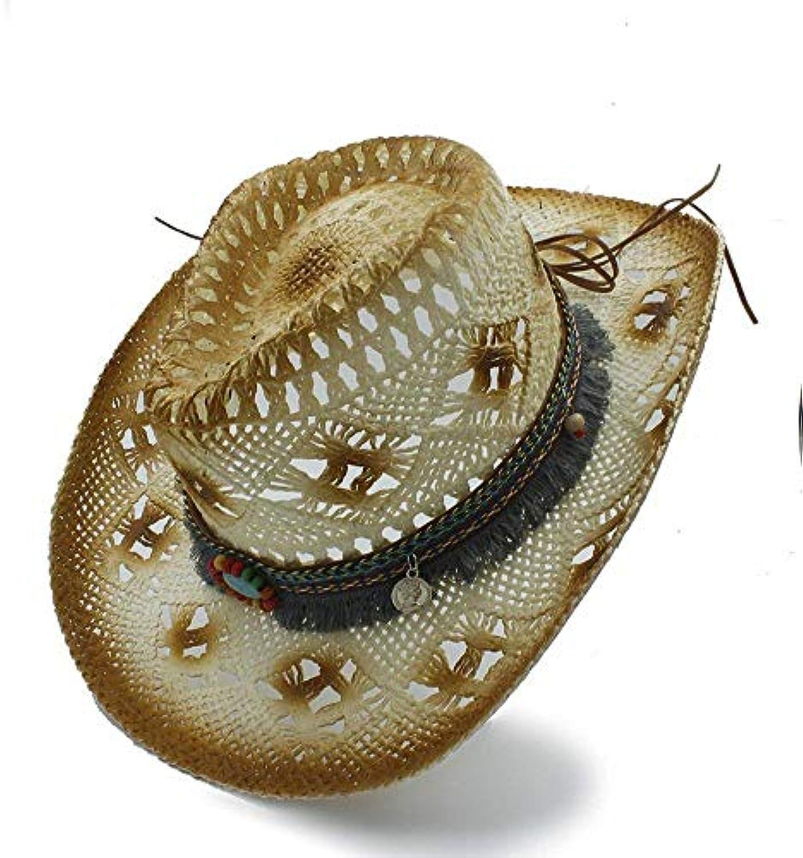 BAOJU Home Cappello - Cappelli da Cowboy Western Cow Sombrero Cow Western  Nespolo con Paglia e Nappe Parent 016d82 c7623c1c54ad