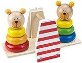 Tooky Toy Steckspiel aus Holz - Bären-Wippe zum Lernen und zur Motorik Schulung Ihres Kindes- mit 6 verschiedenen Steck-Formen und 2 Bären-Köpfchen ab 3 Jahren ca. 25 x 6,5 x 11 cm