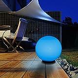 Kugelleuchte 30 cm Ø | weiße Gartenlampe, Außenleuchte, schöne Deko für Innen & Außen, Gartenbeleuchtung, Gartenkugel mit LED RGB Farbwechsel - 230 V, Kugellampe mit IP45, 180 cm Kabel + Leuchtmittel