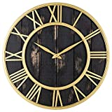 Oldtown Clocks Agriturismo rustico fienile vintage in metallo bronzo e legno massello silenzioso grande orologio da parete oversize 24 pollici Oro nero