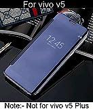For VIVO V5 'MOBISTYLE' New Luxury Smart Semi Clear View Mirror Flip Cover For VIVO V5 (NOT FOR VIVO V5 PLUS) BLUE