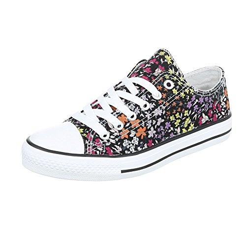 Ital-Design, Sneaker donna Schwarz Multi BL45