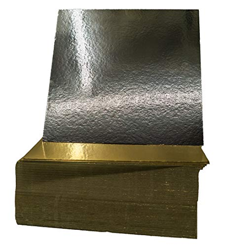 FunCakes Cake Cartons Silver/Gold Square 35cm, pk/100