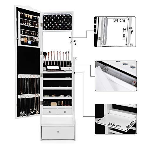 SONGMICS Schmuckschrank mit LED Beleuchtung, Abschließbarer Spiegelschrank, mit Innenspiegel und klappbarer Innenablage für Make-up, Weiß JBC87WT - 4