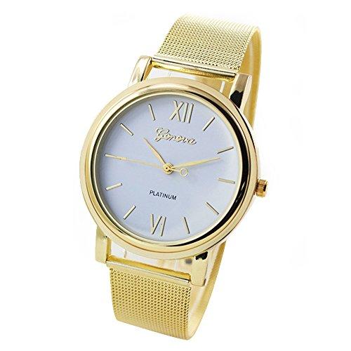 Forepin® Uomo Donna Classic rotonda della vigilanza in Acciaio Orologio da Polso al Quarzo (Oro e Bianco)