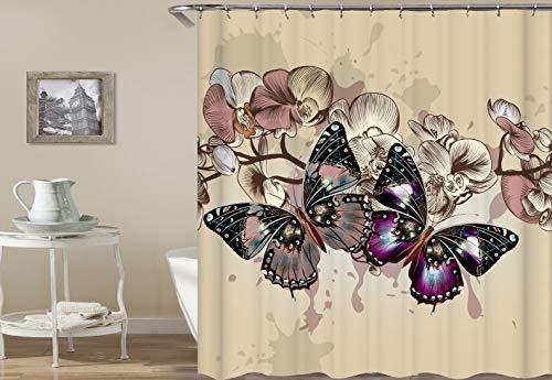 gelben Hintergrund schwarz lila Schmetterling gelb rosa schöne Blume Duschvorhang Bad Vorhang Dekoration wasserdichtes Gewebe ()