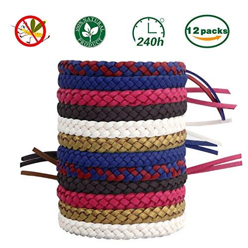Fenvella Mücken Armband, Mückenarmbänder Mückenschutz Armband 100% natürlicher Pflanzenextrakt 12 Stück Moskito Armband Geeignet für Erwachsene und Kinder für Camping Klettern Schlafzimmer Grillen