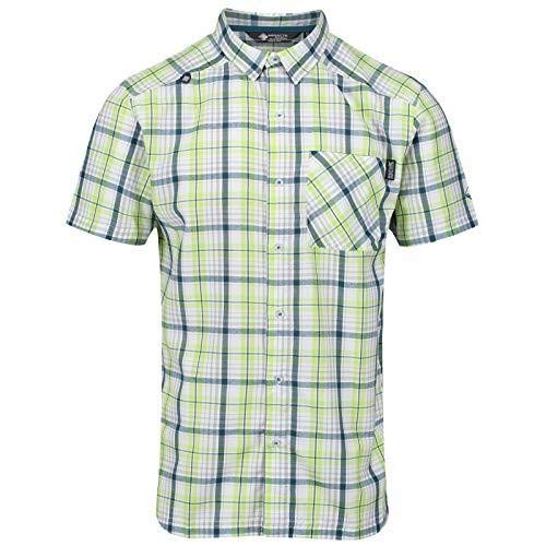 Regatta Herren Mindano IV Quick Drying Check Short Sleeve Casual Hemd, Lime Punch, XXXL